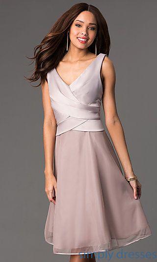 V-Neck Knee Length Sleeveless Dress at SimplyDresses.com