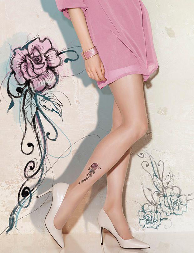 """Collant sexy tattoo 24 """"rose"""" GATTA mode Femme qualité 20 den"""