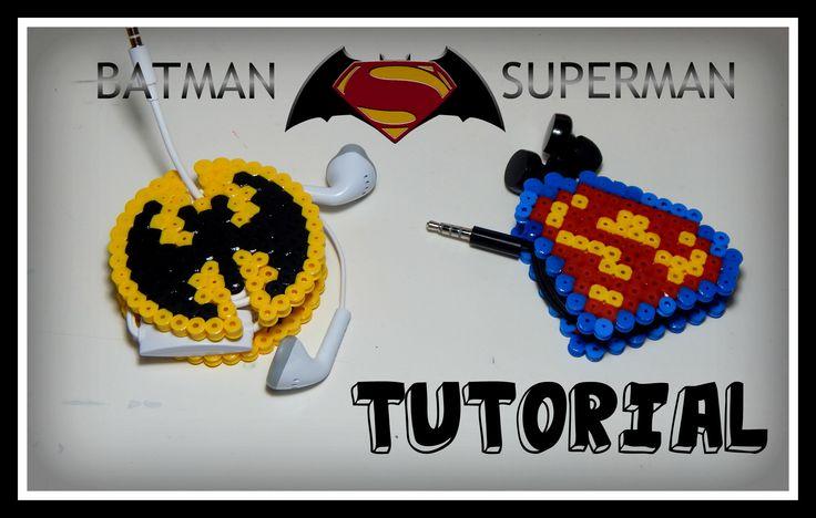 DIY Porta Cuffiette/Auricolari con il Logo di Batman & Superman realizzati con Hama beads/Perler/Pyssla by cr3stina Qui il tutorial: https://youtu.be/gf6hbfrw3wI