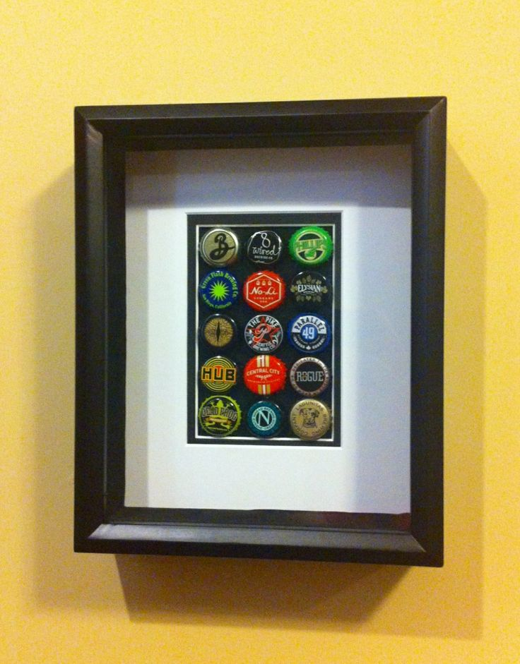 Craft beer bottle cap shadow box picture frame a great for Beer bottle picture frame