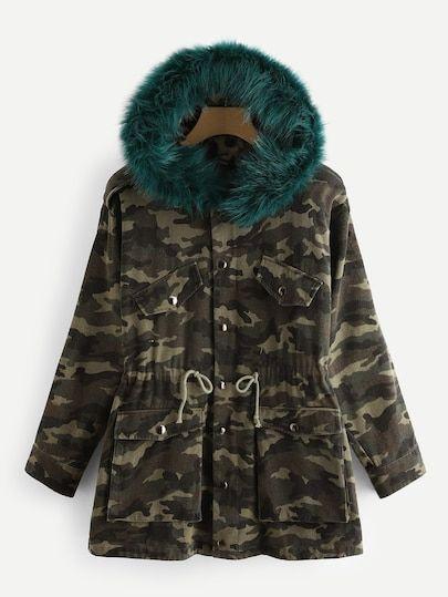 SHEIN Camo Parka Coat With Faux Fur Trim Hood coat 8cd209249d
