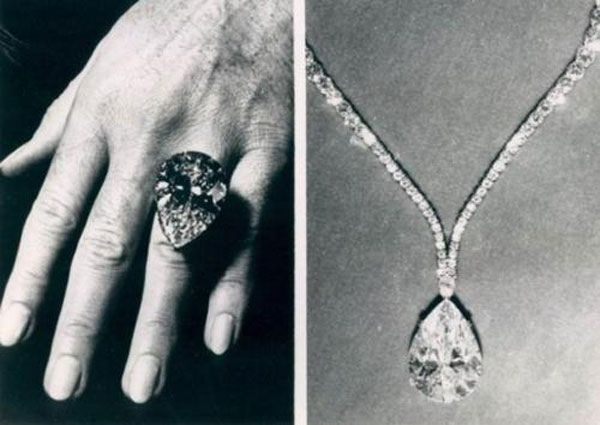 "TheTaylor-Burton Diamond, 1969 Her most famous gem was a 69.42-carat pear-shaped diamond that Burton purchased at auction for over $1 million. It was originally set in a ring. ""But even for me it was too big,"" Taylor said. ""So we had Cartier design a necklace."" She wore the new design to the Academy Awards in 1970."