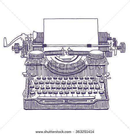 Retro typewriter vector drawing