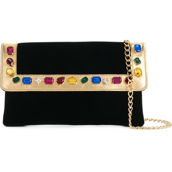 Casadei crystal-embellished clutch bag ($1,130) ❤ liked on Polyvore featuring bags, handbags, clutches, black, multi colored handbags, chain-strap handbags, multi colored purses, multi color purse and hand bags