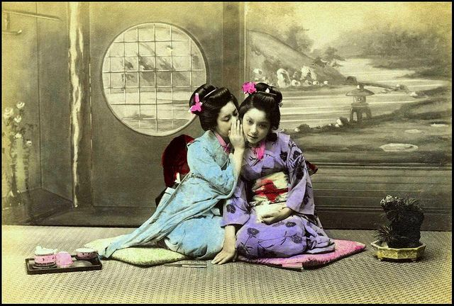 GOSSIPING GEISHA --Color on Black  White in OLD JAPAN | Flickr - Photo Sharing!