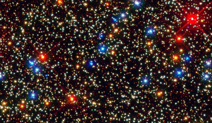 Colorful Stars Inside Globular Star Cluster Omega Centauri: NASA's Hubble Space Telescope snapped this panoramic view of a colorful assortment of 100,000 stars in the core of a giant star cluster. The image reveals a small region inside the massive globular cluster Omega Centauri, which holds nearly 10 million stars. The stars in Omega Centauri are between 10 billion and 12 billion years old. The cluster lies about 16,000 light-years from Earth.
