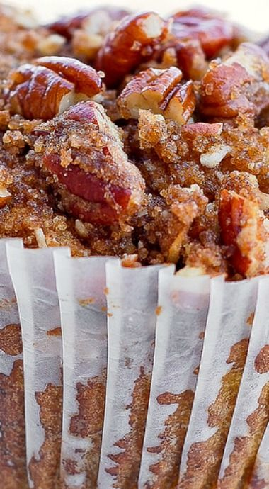 Pumpkin Pecan Muffins with Cinnamon Sugar Crumble Topping