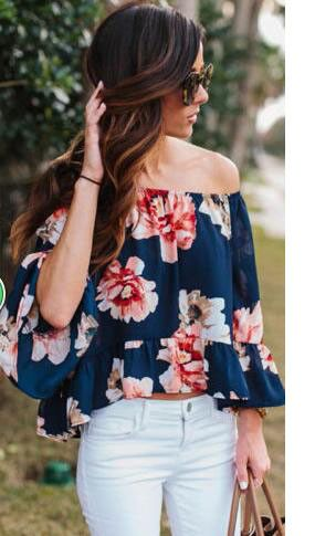 Details: Off the shoulder Pagoda sleeve Material:Polyester Regular wash Free Shipping ! We accept Visa ,MasterCard and Paypal . SIZE(CM) US BUST SLEEVE LENGTH S 2 88 41 43 M 4/6 92 41 44 L 8/10 96 42