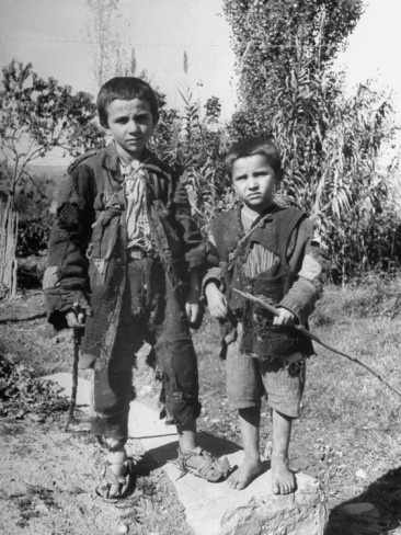 Pair of Ragged Greek Boys Made Homeless by the German Occupation During WWII