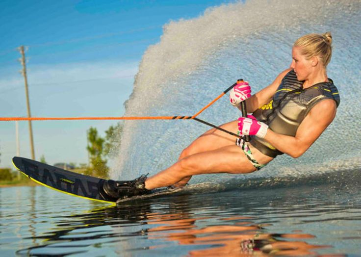 After setting the Canadian water ski trick record with 9,570 points, Whitney McClintock tied the women's slalom record on Lake Hancock in Winter Garden, Florida earlier this month.