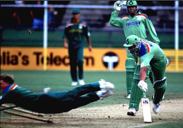 South Africa's re-entry to the 1992 Cricket World Cup where Jonty Rhodes' spectacular run-out of Inzamam-ul-Haq was one of the highlights. Pakistan went on to win the 1992 Cricket World Cup.