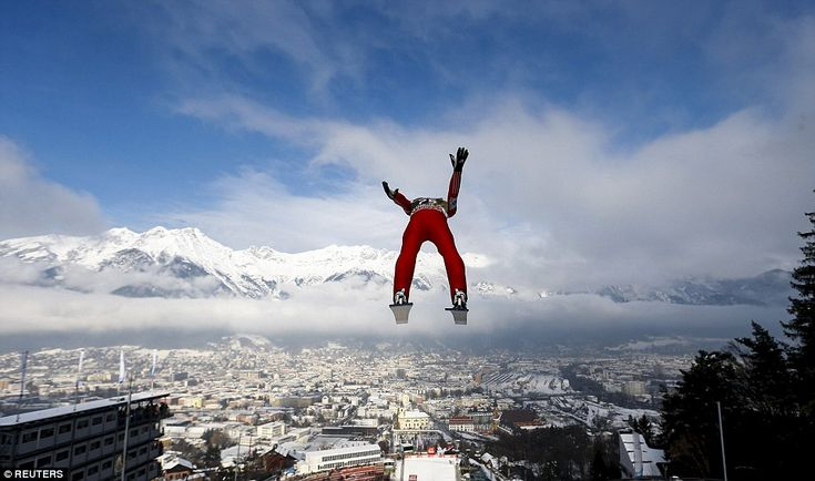 Anders Fannemel from Norway soars through the air during training at a ski jumping tournament in Innsbruck, Austria, in January