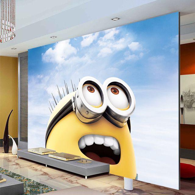 3d Cartoon Wallpaper Minions Photo Wallpaper Custom Wall Mural Boy Girl Kid Bedroom Room Decor