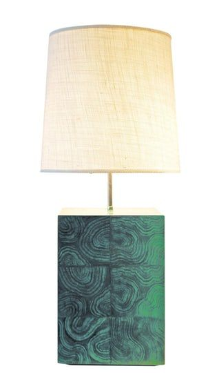 Surface Lamp In Faux Malachite Finish  MidCentury  Modern, Wood, Table Lighting by Alpha Workshops