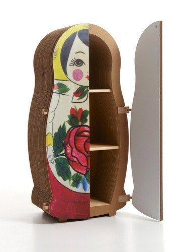 The Matrioska (Matryoshka in Italian) Cabinet is a unique storage design from Kubedesign, specialists in cardboard furniture creation. The Matrioska Cabinet stands over 6 feet tall with a laminated te