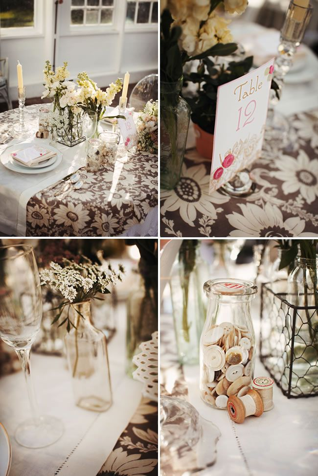 I Love The Mix Of Jars Flowers And Buttons