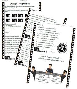 Mission suppression, lecture, compréhension, phrase, Ce1,CE2, dixmois
