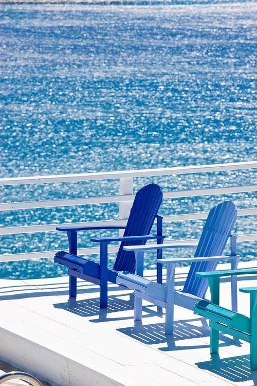 summer relaxation. | Ocean | Patio | Patio Chairs | Blue Chair | Blue Ocean | Relaxing |