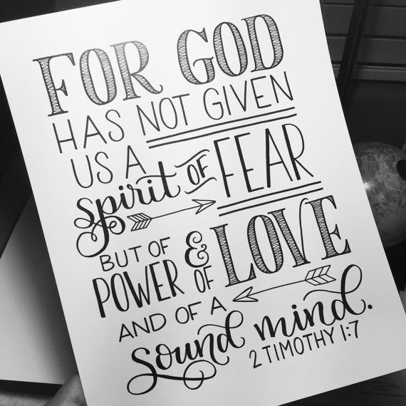 Hand Lettered Print, Bible Verse, Scripture - 2 Tim 1:7