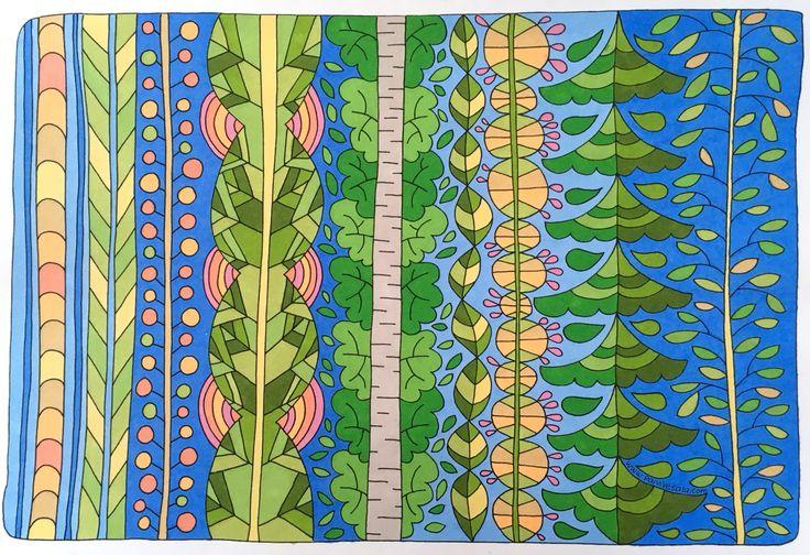 Mielikuvia vol 1 colouring book by Päivi Vesala.  www.paivivesala.com