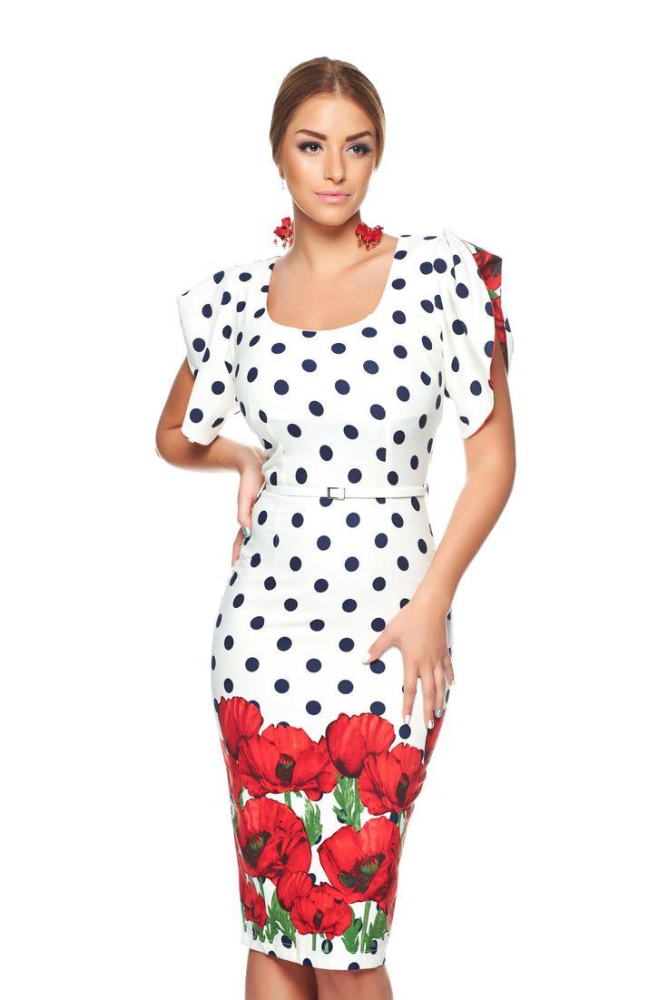 PrettyGirl Trust Me White Dress, floral prints, form-fitting, slightly elastic fabric, slightly elastic fabric