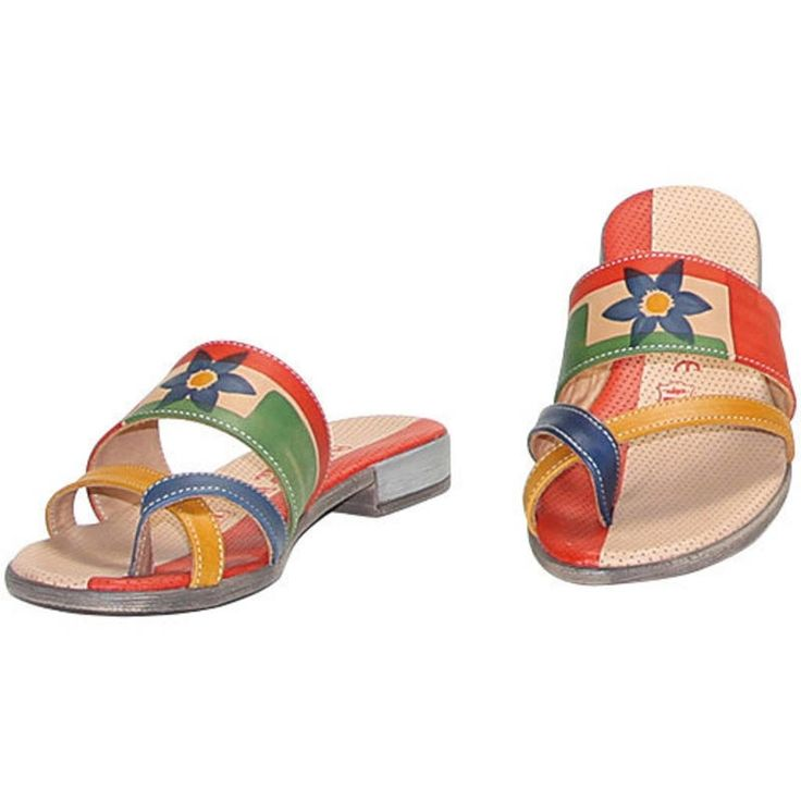 Natural leather flip-flops, hand painted. Ideal for casual clothes and free time. Match them to your Acquerello handbag! Colors blue red green and yellow and pattern flower.