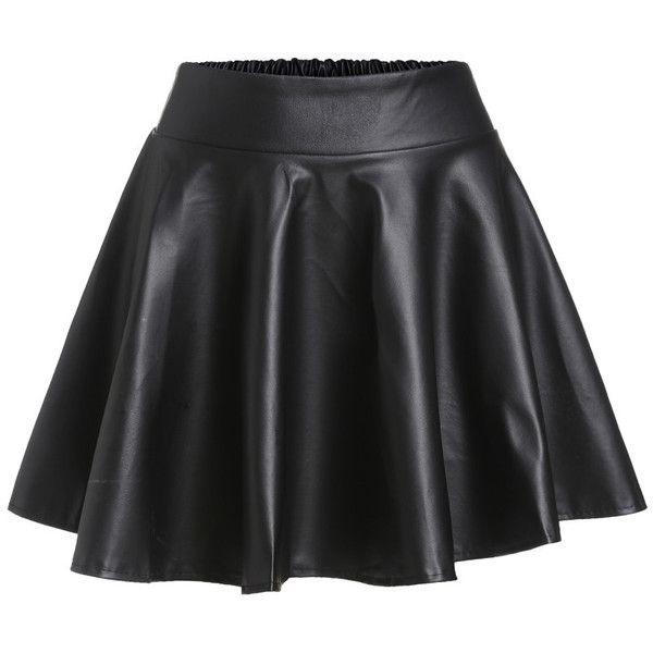 Black Faux Leather Elastic Waist Flare Skirt ❤ liked on Polyvore featuring skirts, elastic waist skirt, skater skirt, circle skirts, faux leather skirts and flared skirt