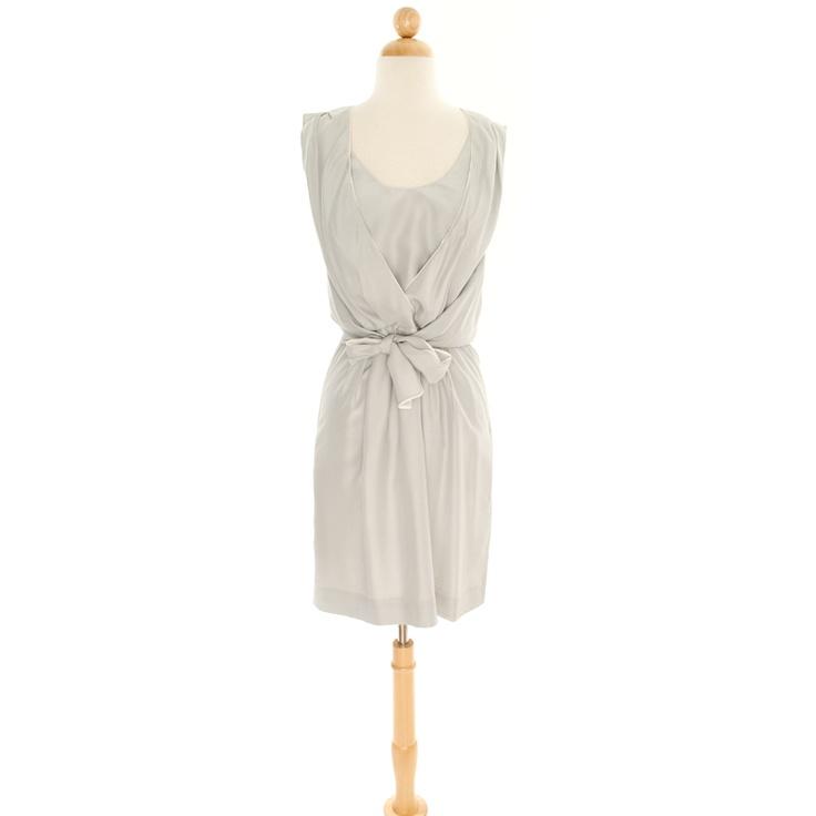 Light Gray Silk Empire Tie Dress