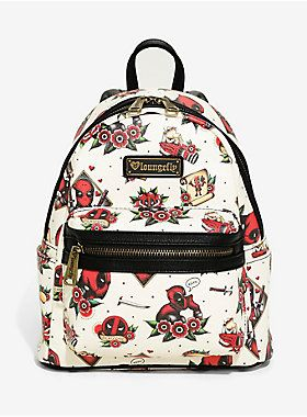 Deadpool and tattoos just feel like a no-brainer. That s why this cream  colored mini backpack from Loungefly is perfect. It s got an allover print  of tattoo ... 0385186339446