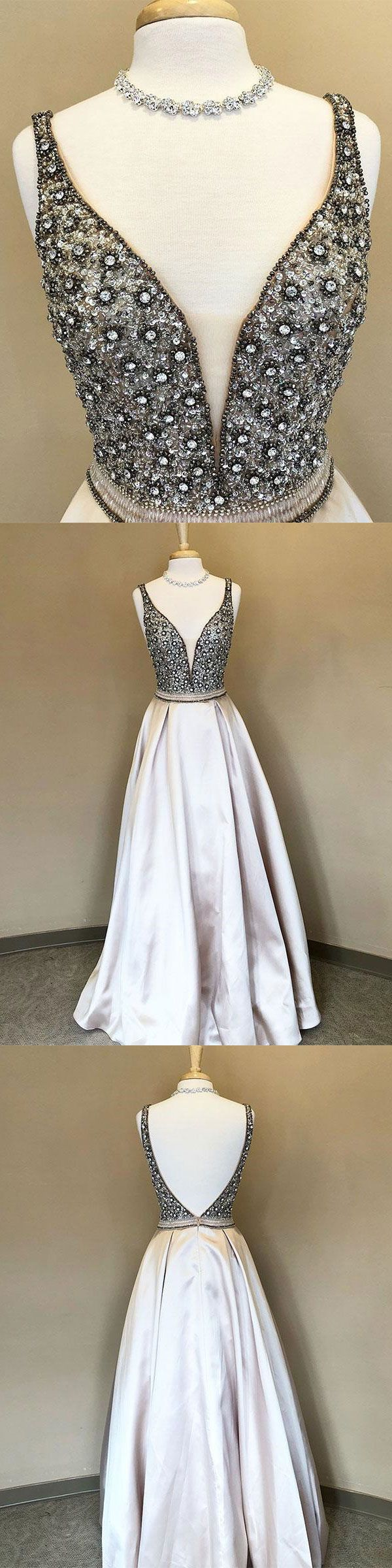 Beaded Long Prom Dresses with V-neck,New Design Prom Dresses for Teens,#sheergirl #prom #pageant