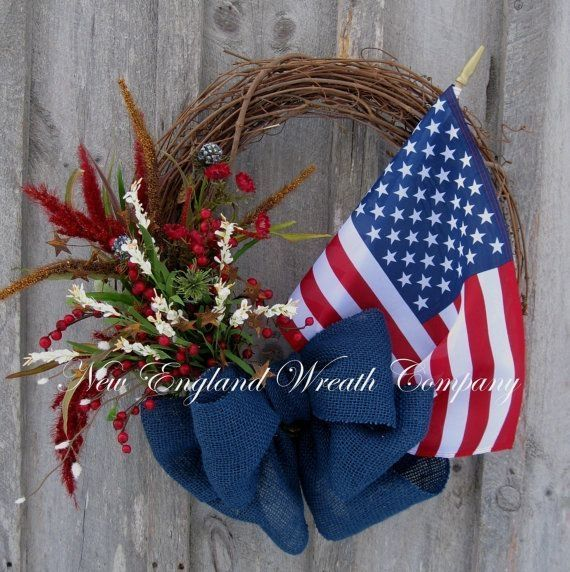 4th of July grapevine  Wreath    Americana Wreath, Patriotic Wreath, 4th of July Wreath, Spring Summer ... by AudraL