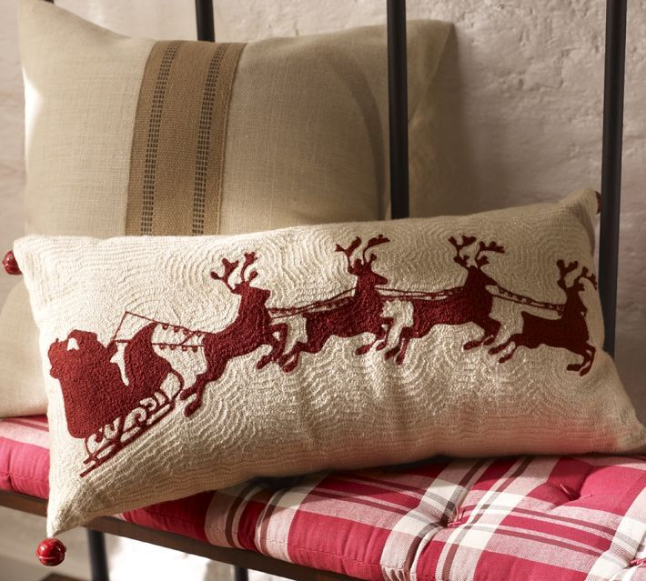 Thrifty Decor Chick: Christmas - She made her own pillow using a placemat rather than buying at Pottery Barn