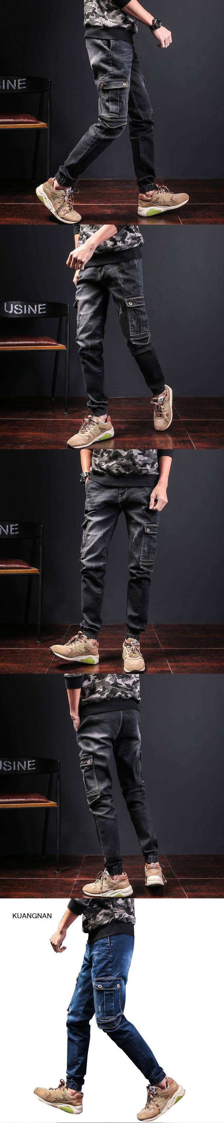 Size 28-40 Male Cargo Jeans Pant Street Fashion Hiphop Casual High Quality Men Slim Fit Denim Trousers