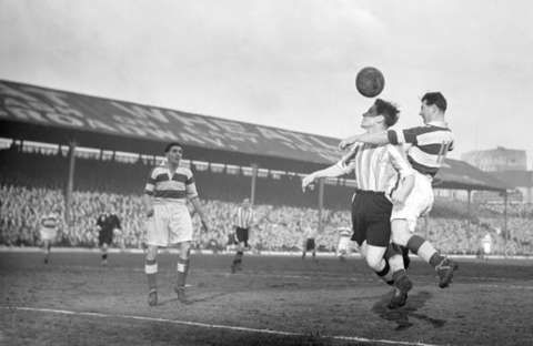 QPR on the attack in Brentford's 1952 3-1 FA Cup victory at Griffin Park.