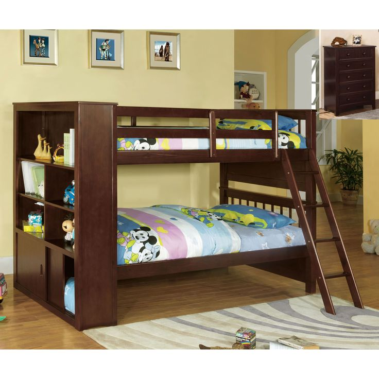 This exciting bunk bed set features a uniquedesign bunk with a built in bookshelf for extra storage, along with a matching chest that blends nicely with the bunk's style. All are beautifully constructed with a rich espresso finish.