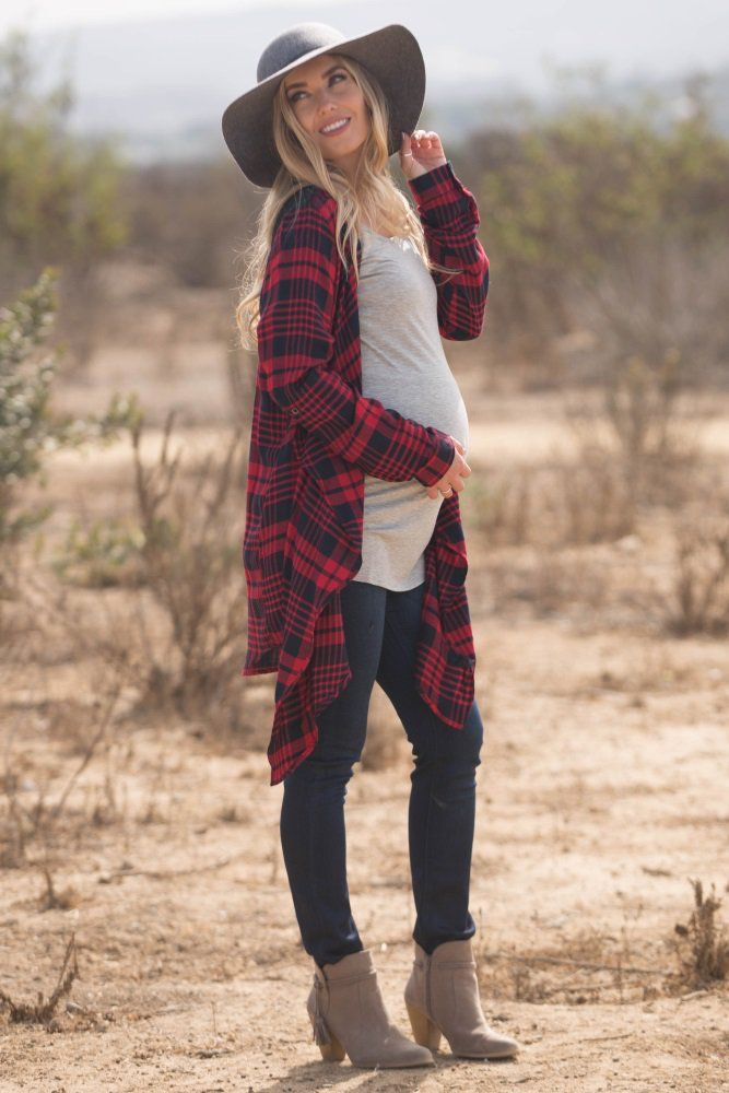 Red Flannel Crochet Accent Draped Maternity Cardigan Maternity Picture Outfits Stylish Maternity Outfits Winter Maternity Outfits