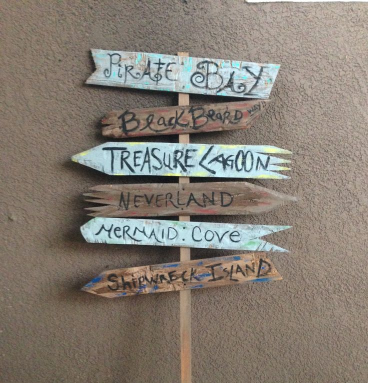 Handpainted Weathered Wooden Pirate Party Directional Sign, Luau Party, Pirate Birthday Party, Peter Pan Party, Neverland party by SSweetPartyDecor on Etsy https://www.etsy.com/listing/281768904/handpainted-weathered-wooden-pirate
