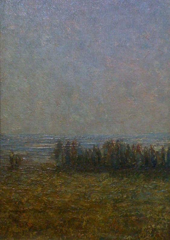"""Marc-Aurèle de Foy Suzor-Côté, """"Le fleuve St-Laurent,"""" v. 1920, huile sur panneau, 14"""" x  10""""    Inscription au dos: """" Pour Mme Léger """""""