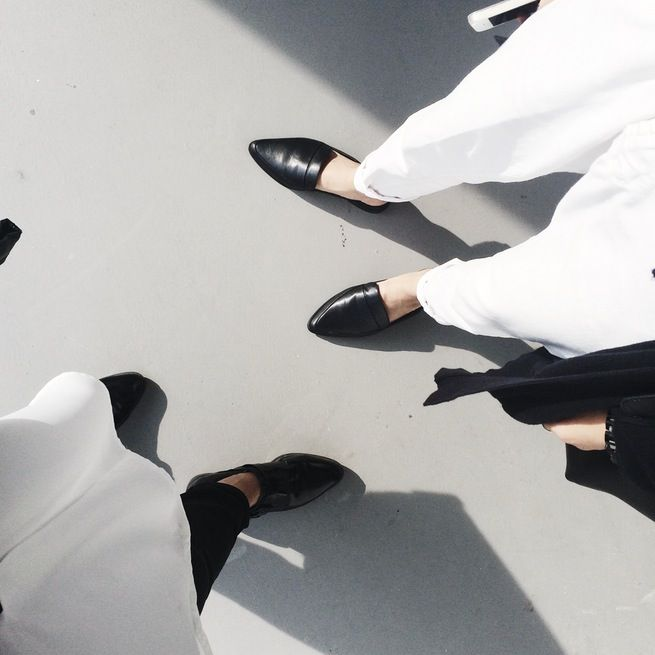 [ leather loafers ]