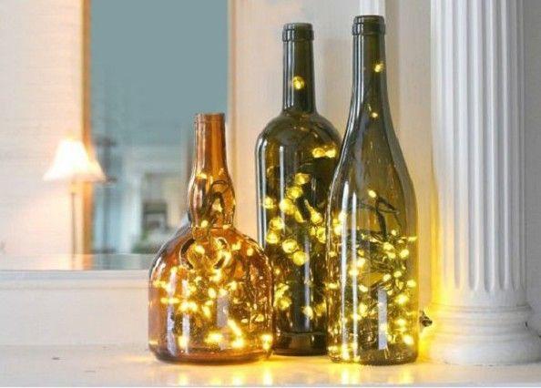 Botellas con luz para decorar en Navidad | Lámparas de botellas de vino,  Manualidades botellas de vidrio, Botellas de vidrio