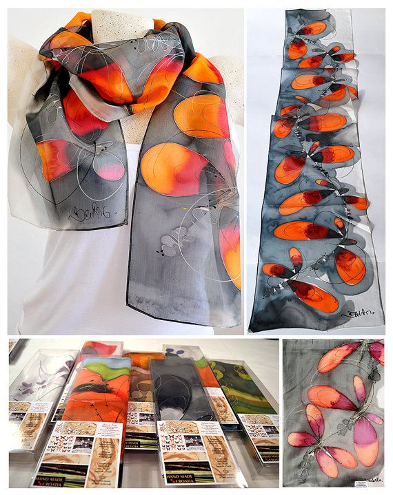Silk scarf Handmade unique silk accessories gift idea by PutSvile