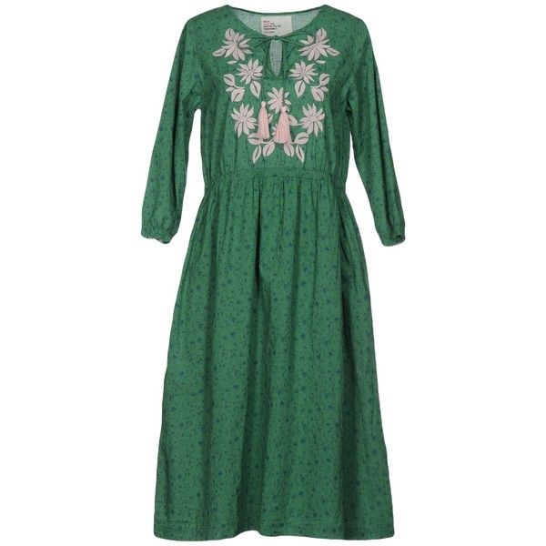 Leon & Harper 3/4 Length Dress ($150) ❤ liked on Polyvore featuring dresses, green, green dress, green color dress, long sleeve cotton dress, green long sleeve dress and long sleeve dresses