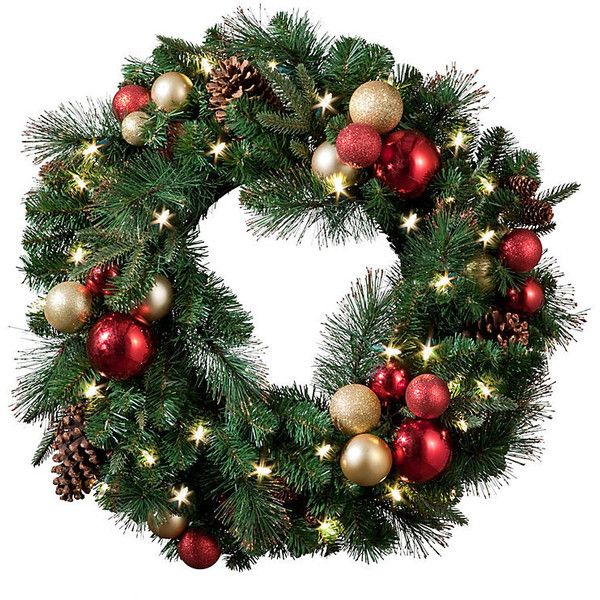 "Regal Pre-Lit LED Christmas Wreath-26"" found on Polyvore featuring home, home decor, holiday decorations, christmas, fillers, decor, wreaths, christmas holiday decor, red christmas ornaments и artificial holiday wreaths"