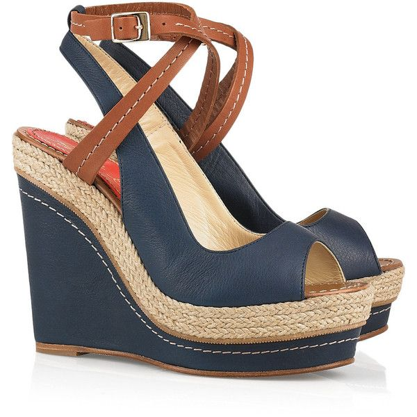 Paloma Barceló Velati leather wedge sandals ($125) ❤ liked on Polyvore featuring shoes, sandals, wedges, heels, zapatos, ankle strap sandals, heeled sandals, navy sandals, navy blue sandals and ankle strap wedge sandals