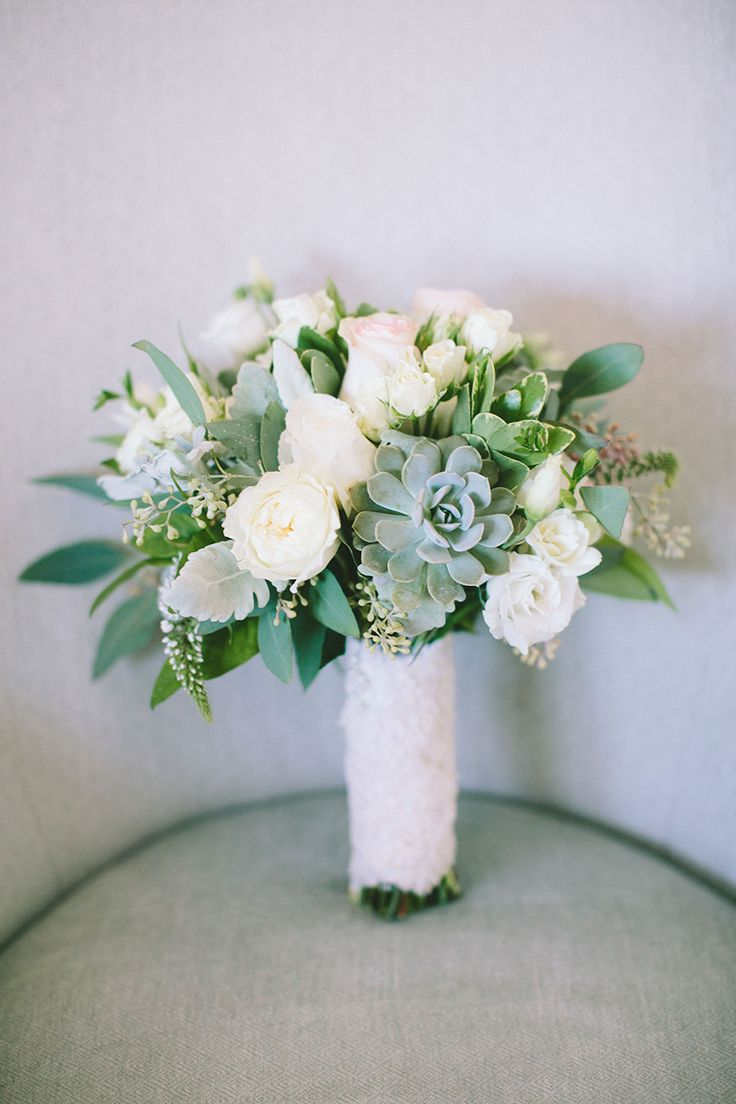 White Wedding Bouquet with Succulents | On Style Me Pretty: http://www.StyleMePretty.com/2014/02/24/modern-new-york-wedding-at-the-foundry/ Photography: Maggie Harkov