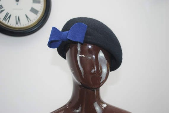 Check out this item in my Etsy shop https://www.etsy.com/uk/listing/517936851/ladies-beret-hat-with-bow-black-retro