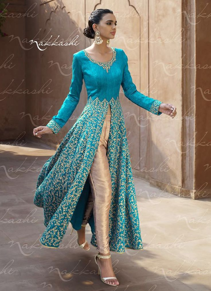 Picturesque Embroidered Work Bhagalpuri Silk Turquoise Designer Suit