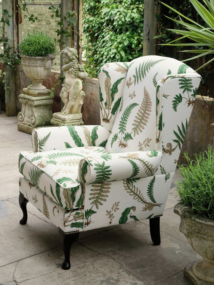 Queen Anne chair in GP&J Baker Ferns  #WesleyBarrell