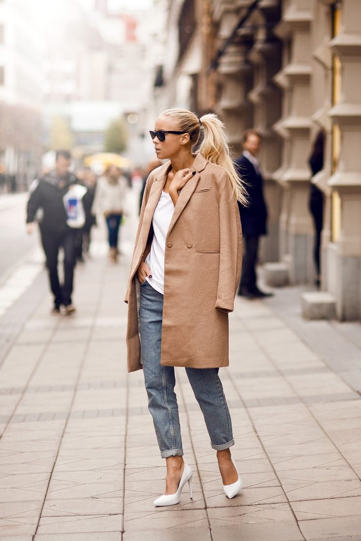 #fashion #trench #denim #street #style #casual #pumps #white