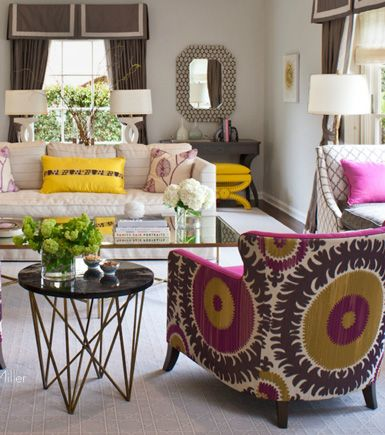 Love this color scheme. Muted just a bit with the white and grey but then you get that punch of color from the fuchsia and yellow. Luv!